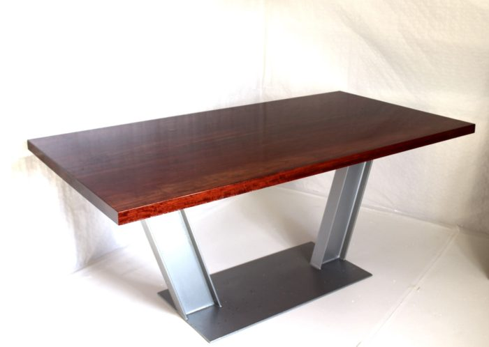 dining table padouk quality tauruswood hard massive wood steel base industrial epoxy resin