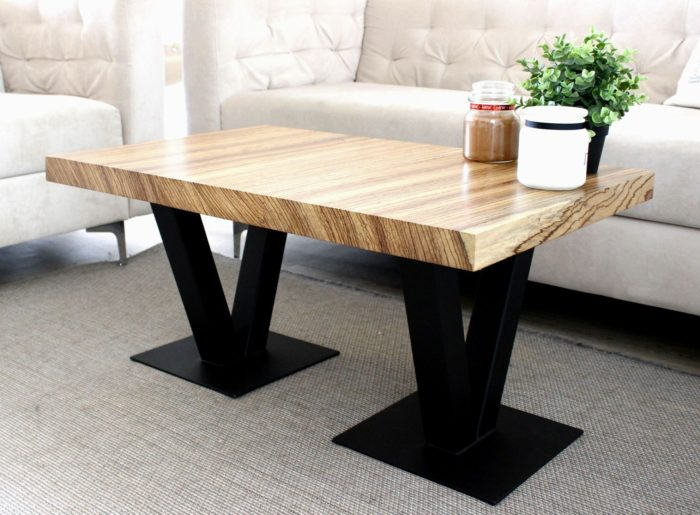 zabrano nature oiled table tauruswood luxus design massive steel base
