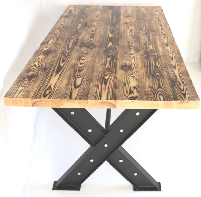 dining table style design burn flames spruce industrial steel base tauruswood